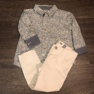 Old Navy Girls Flower Button-up & Skinny Pant Set